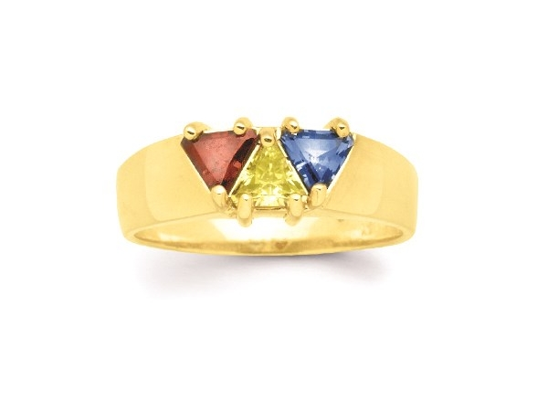 14k Yellow or White Gold 1-6 Stone Trillion Mothers Ring  - This ring is available in 14K Yellow Gold, 14K White Gold, or Sterling Silver with 1-6 Birthstones in either Synthetic or Genuine. 