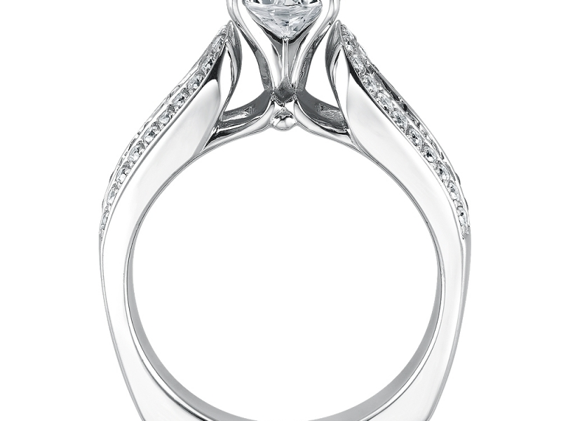 Engagement Rings - Wide Band Baguette Diamond Ring Mounting  - image #2