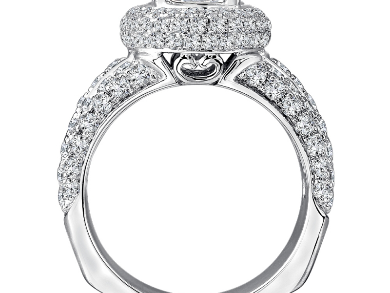 Bridal Jewelry - 3 Band Halo Pave-Set Diamond Ring Mounting - image #2