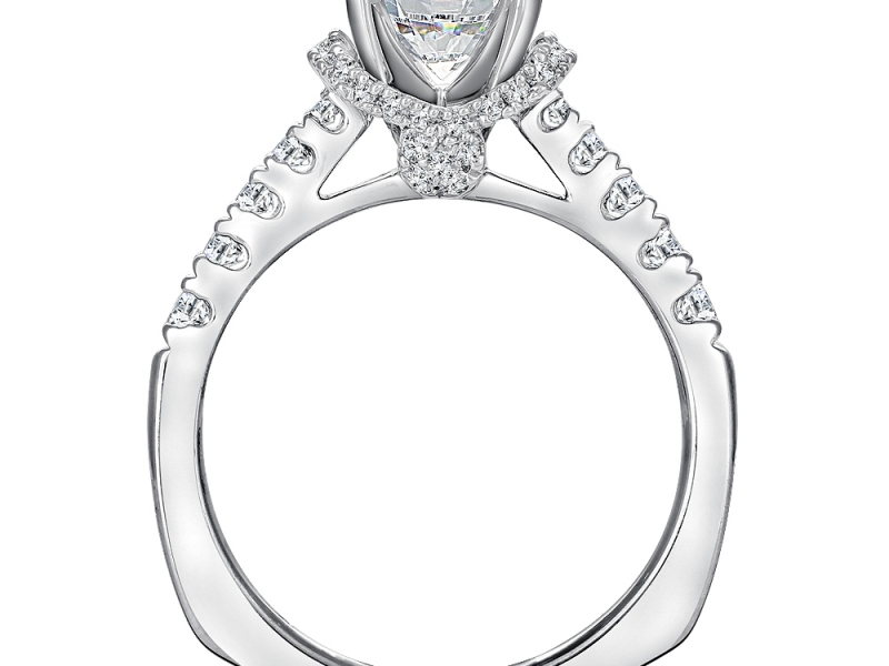 Bridal Jewelry - Halo with Fishtail-Set Side Stone Diamond Ring Mounting - image #2