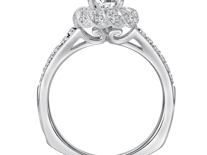Bridal Jewelry - Twisted Rope Halo Diamond Ring Mounting - image #2