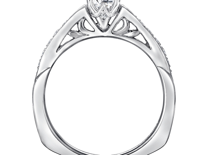 Bridal Jewelry - Milgrain Pinched Side Diamond Ring Mounting - image #2