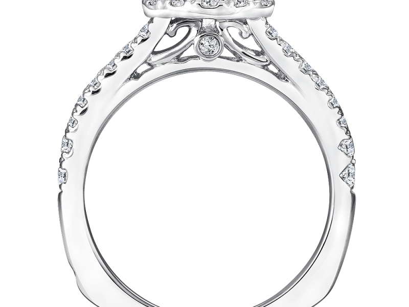 Engagement Rings - Split Shank Halo Diamond Ring Mounting  - image #2