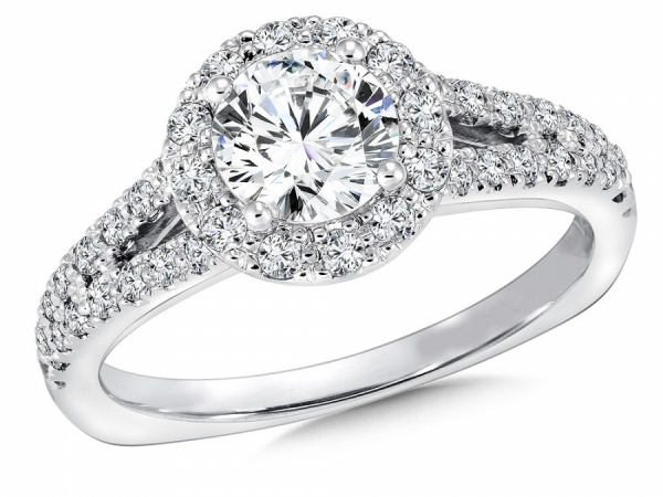 Engagement Rings - Split Shank Halo Diamond Ring Mounting