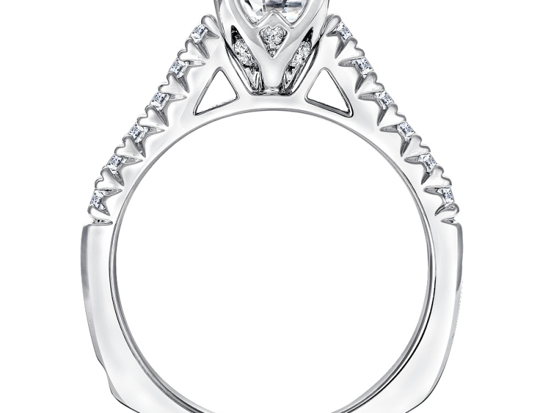 Engagement Rings - Raised Shoulder Diamond Ring Mounting - image #2