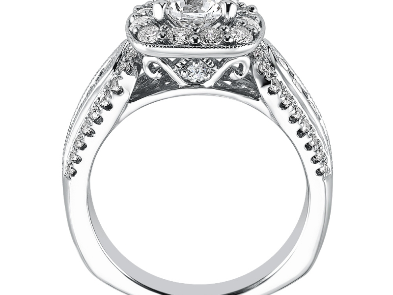 Engagement Rings - Cushion Shape Diamond Halo Mounting  - image #2