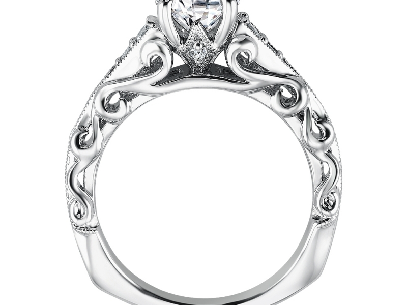 Engagement Rings - Open Scroll Vintage Inspired Diamond Ring Mounting - image #2