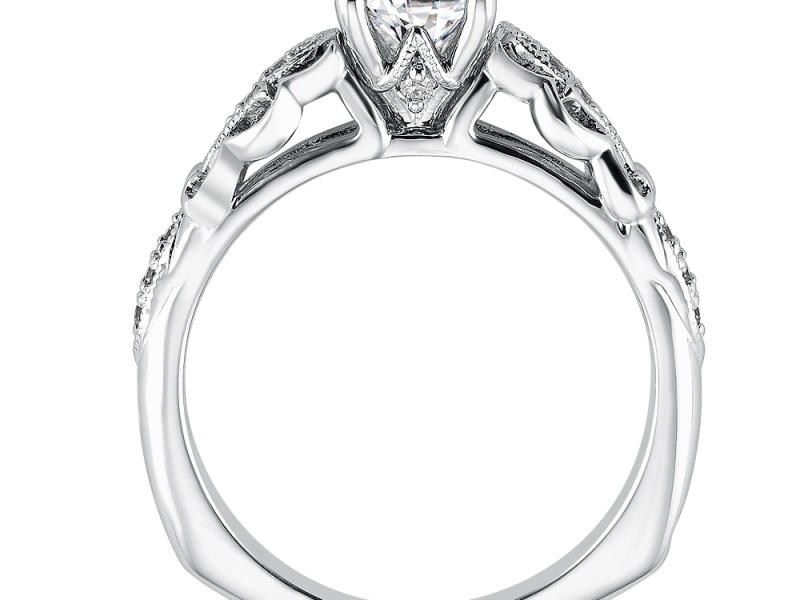 Engagement Rings - Fleur-de-lis Motif Diamond Ring Mounting  - image #2