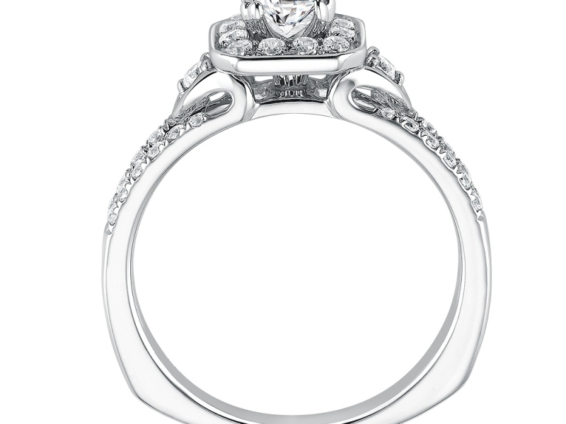 Engagement Rings - Asscher cut shape diamond halo mounting - image #2