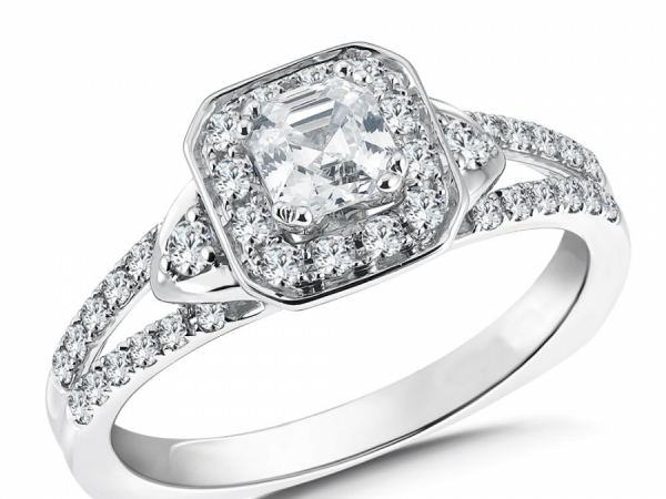 Engagement Rings - Asscher cut shape diamond halo mounting