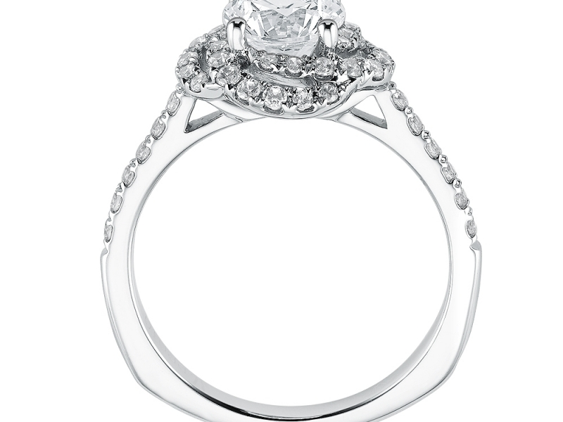 Engagement Rings - Swirl Halo Diamond Ring Mounting  - image #2