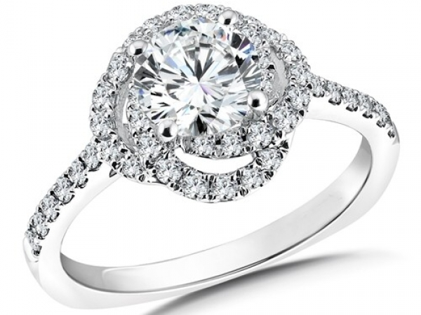 Engagement Rings - Swirl Halo Diamond Ring Mounting