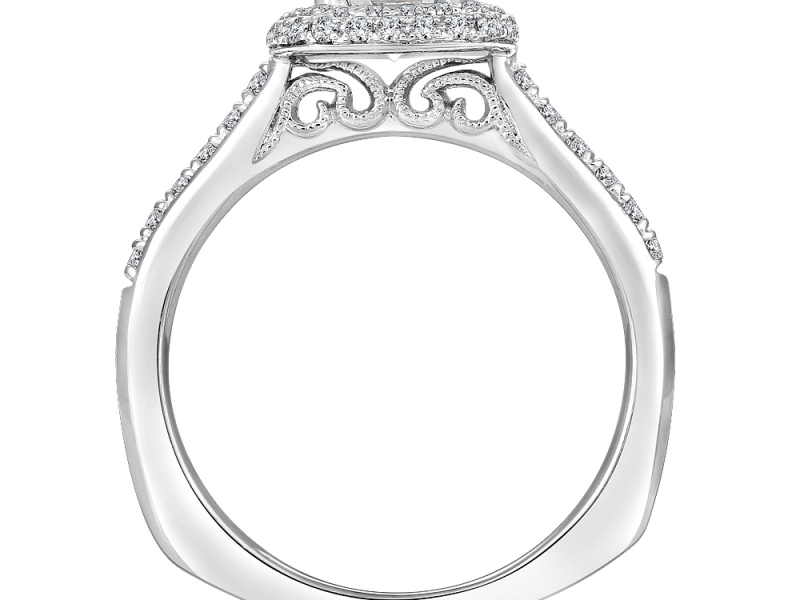 Engagement Rings - Double Cushion Halo Diamond Ring Mounting - image 2