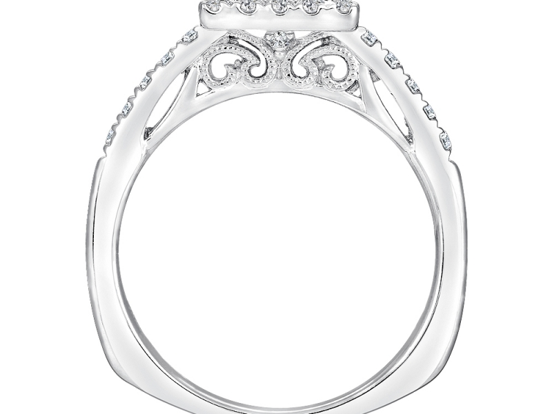 Bridal Jewelry - Princess Cut Halo Ring Mounting - image #2