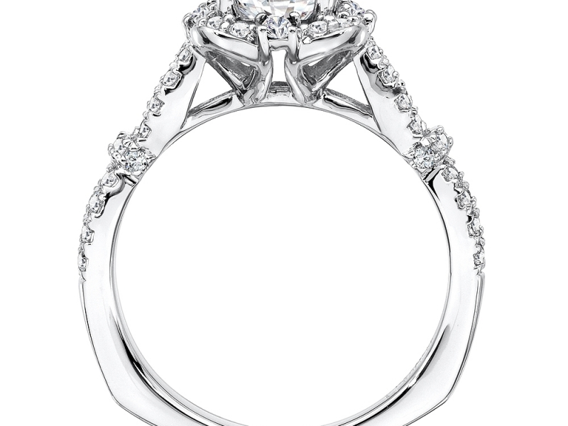 Engagement Rings - Vintage Style Floral Shape Halo Diamond Ring Mounting - image #2