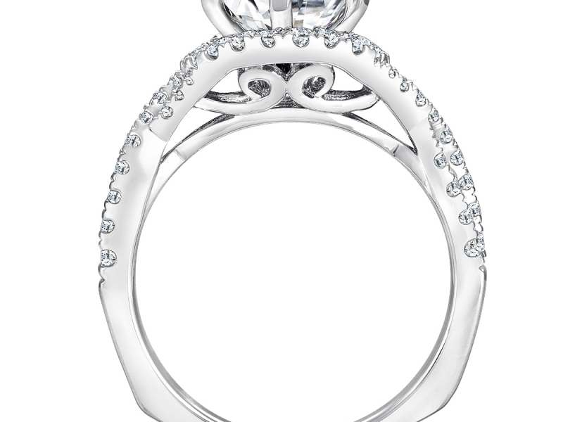 Engagement Rings - Double Strand Halo Diamond Ring  - image #2
