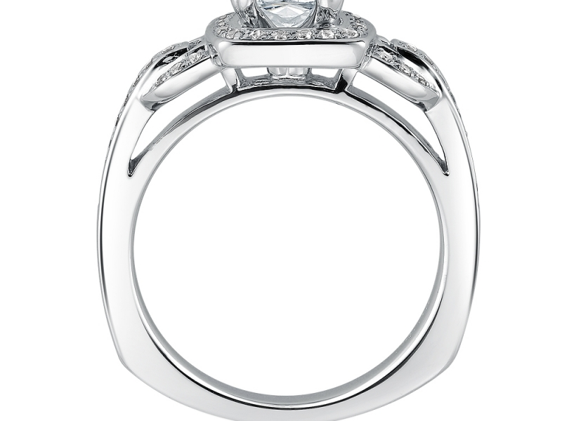 Engagement Rings - Cushion Cut Halo Diamond Ring Mounting  - image #2