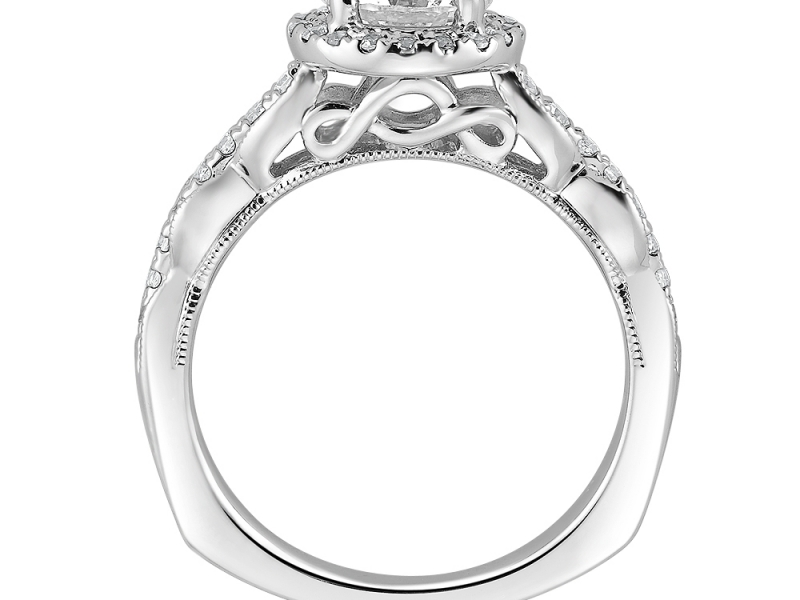 Bridal Jewelry - Vintage Inspired Halo Diamond Ring Mounting - image #2