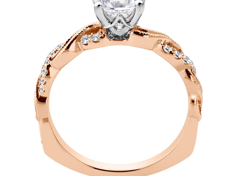 Engagement Rings - 14K Rose Gold Criss Coss Mounting  - image 2