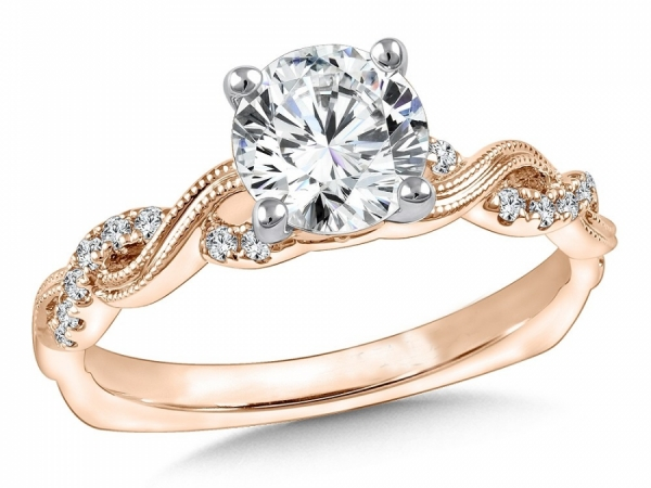 Engagement Rings - 14K Rose Gold Criss Coss Mounting