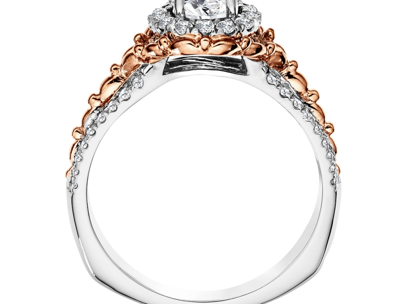 Engagement Rings - 14K White & Rose Gold Halo Mounting  - image 2