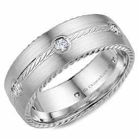 Gold Wedding Bands - 14kw Rope Center Diamond Accent Band