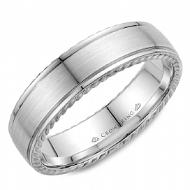 Gold Wedding Bands - 14k Gold 6mm Rope Edge Band