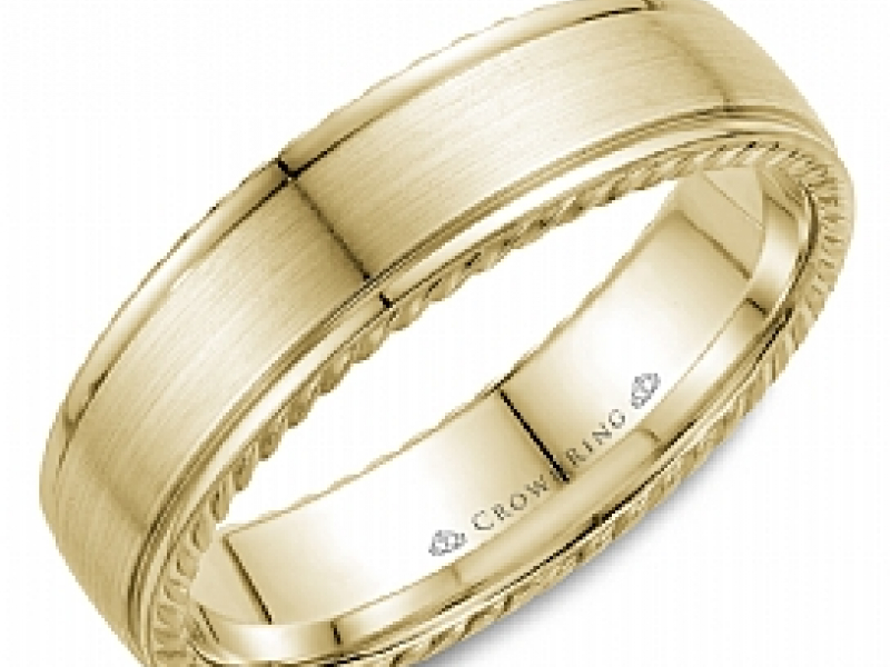 Gold Wedding Bands - 14k Gold 6mm Rope Edge Band  - image #2