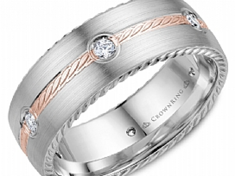 Gold Wedding Bands - 14kw Rope Center Diamond Accent Band  - image #2