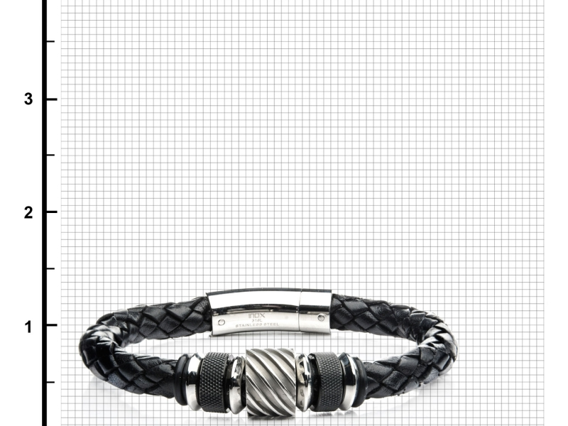 Men's Fashion Jewelry  - Black IP and Steel Bead in Black Braided Leather Bracelet - image #2