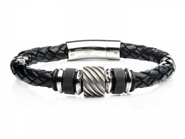 Men's Fashion Jewelry  - Black IP and Steel Bead in Black Braided Leather Bracelet