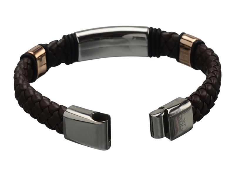 Men's Fashion Jewelry  - Stainless Steel brown leather braided bracelet  - image #2