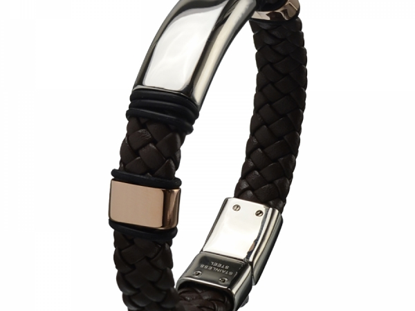 Men's Fashion Jewelry  - Stainless Steel brown leather braided bracelet