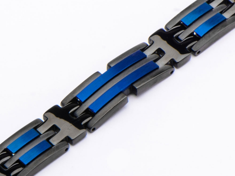 Men's Fashion Jewelry  - Stainless Steel Matte Finished Black and Blue IP Link Bracelet - image #3