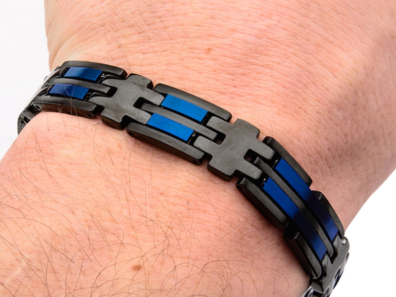 Men's Fashion Jewelry  - Stainless Steel Matte Finished Black and Blue IP Link Bracelet - image #2