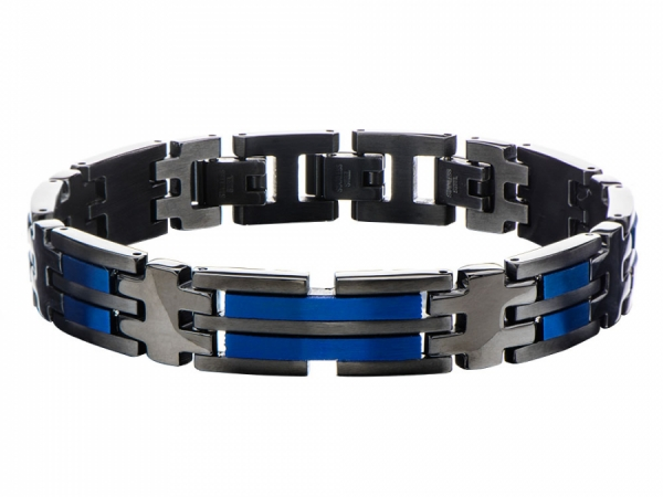 Men's Fashion Jewelry  - Stainless Steel Matte Finished Black and Blue IP Link Bracelet