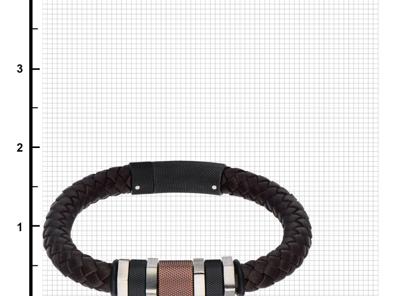 Men's Fashion Jewelry  - Stainless Steel Polish Finished Black IP and Brown Bead Braided Brown Leather Bracelet - image #2