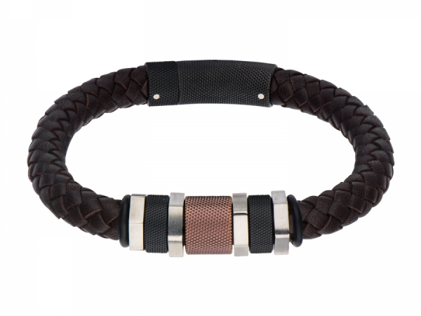 Men's Fashion Jewelry  - Stainless Steel Polish Finished Black IP and Brown Bead Braided Brown Leather Bracelet