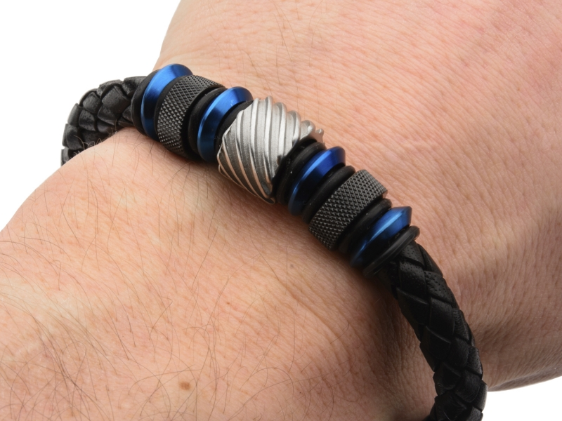 Men's Fashion Jewelry  - Blue, Black IP and Steel Bead in Black Braided Leather Bracelet - image #2