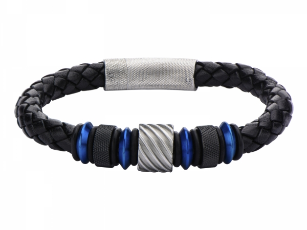 Men's Fashion Jewelry  - Blue, Black IP and Steel Bead in Black Braided Leather Bracelet