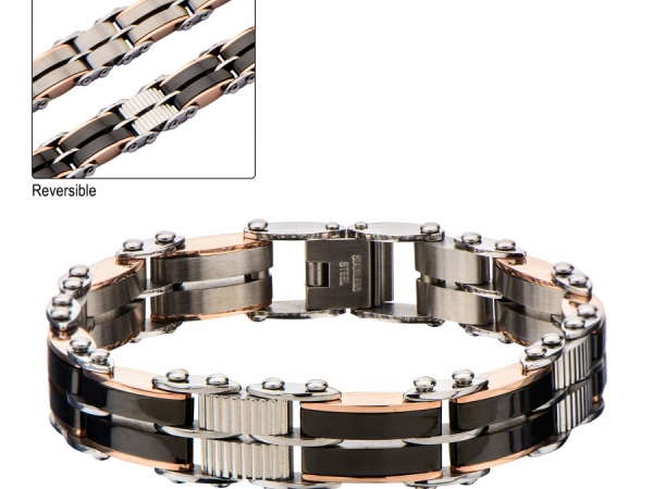 Men's Fashion Jewelry  - Stainless Steel, Black IP and Rose Gold IP Reversible Bracelet.