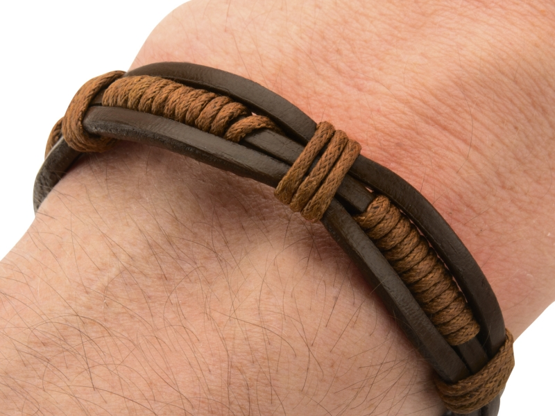Men's Fashion Jewelry  - Brown Rope Wrapped in Brown Leather Bracelet. - image #3