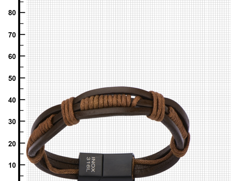 Men's Fashion Jewelry  - Brown Rope Wrapped in Brown Leather Bracelet. - image #2