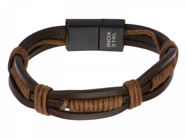 Men's Fashion Jewelry  - Brown Rope Wrapped in Brown Leather Bracelet.