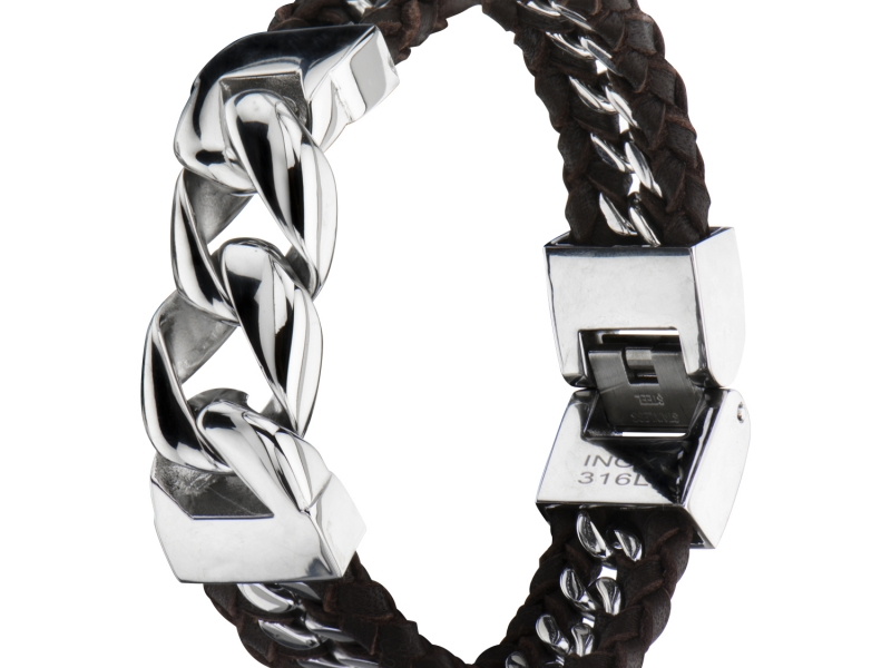 Men's Fashion Jewelry  - Stainles Steel Curb Chain with Braided Brown Leather Bracelet - image #3