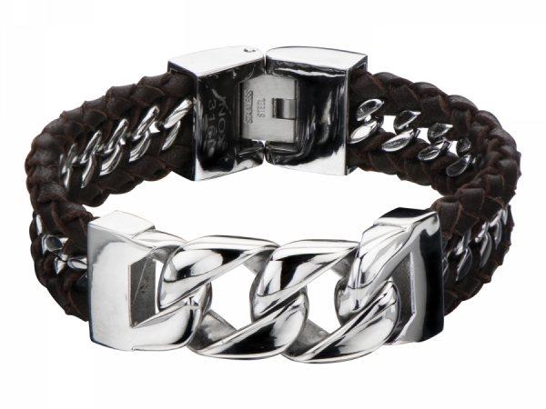 Men's Fashion Jewelry  - Stainles Steel Curb Chain with Braided Brown Leather Bracelet