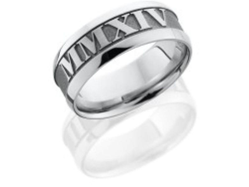 Mens Wedding Bands - Cobalt Chrome Custom Roman Numeral Ring  - image #2