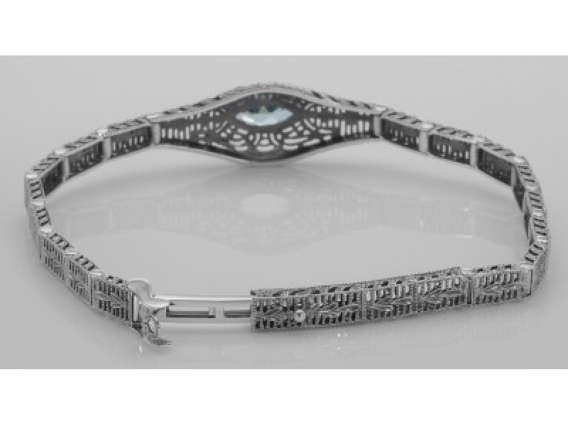 Vintage Inspired Fashion Jewelry - Sterling Silver Victorian Style Blue Topaz Filigree Link Bracelet - image #2