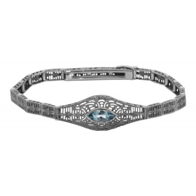 Vintage Inspired Fashion Jewelry - Sterling Silver Victorian Style Blue Topaz Filigree Link Bracelet