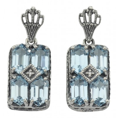 Sterling Silver Earrings  - Art Deco Style Blue Topaz w/ Diamond Earrings - Sterling Silver